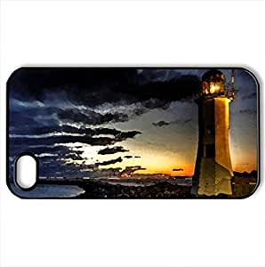 lighthouse on a rocky point hdr - Case Cover for iPhone 4 and 4s (Lighthouses Series, Watercolor style, Black)