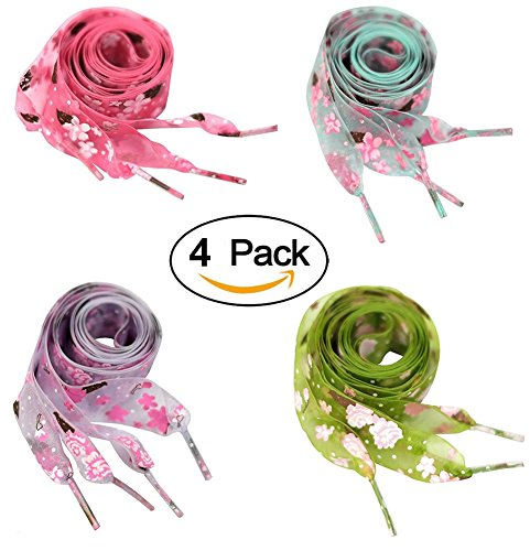 Floral Lace String (4 Pairs Shoelaces Shoe Lace for Sneakers Floral Printed Shoestrings for Kids Women 47