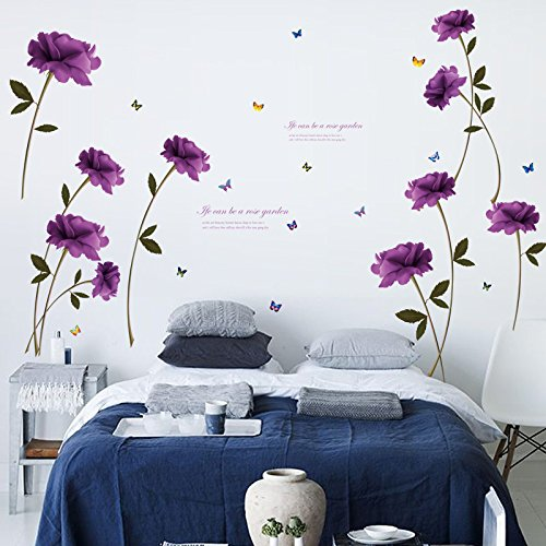 Fenleo Wall Stickers Large Cherry Blossom Flower Butterfly Art Decal Home Decor for Kids Rooms Bedroom Bathroom Living Room Kitchen (E, -