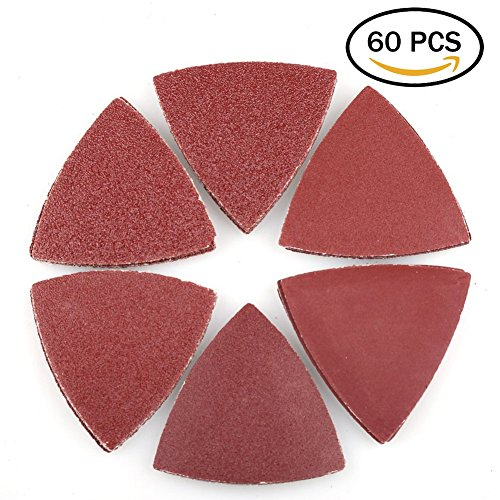Hook and Loop Triangle Sandpaper Sanding Pads Sheets by LotFancy, 3-1/8 Inch, Assorted 40 60 80 120 180 240 Grits, Pack of 60 - Hook Sanding Pad