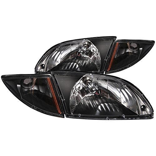 rolet Cavalier Crystal-Black With Corners Headlight Assembly - (Sold in Pairs) (Anzo Usa Headlight Crystal)