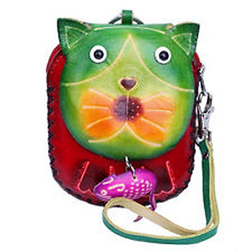 spinner Women Ladies Genuine Leather Handmade Wristlet Coin Purse Cat Wallet Bag Handbag HAND 2399