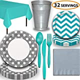 Disposable Tableware, 32 Sets - Silver and Caribbean Teal - Dotted Dinner Plates, Chevron Dessert Plates, Cups, Lunch Napkins, Cutlery, and Tablecloths: Premium Quality Party Supplies Set