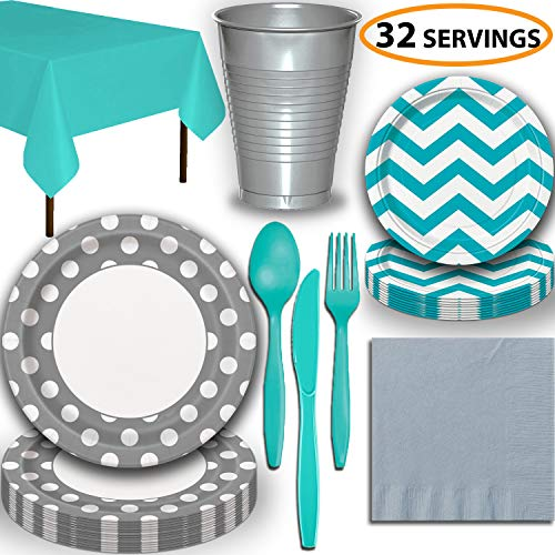Disposable Tableware, 32 Sets - Silver and Caribbean Teal - Dotted Dinner Plates, Chevron Dessert Plates, Cups, Lunch Napkins, Cutlery, and Tablecloths: Premium Quality Party Supplies Set ()