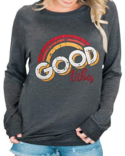 Valphsio Womens Good Vibes Rainbow Top Funny Long Sleeve Graphic Sweatshirt Pullover ()