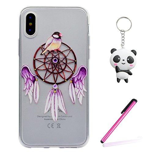 iPhone X Hülle Lila Vogel Premium Handy Tasche Schutz Transparent Schale Für Apple iPhone X / iPhone 10 (2017) 5.8 Zoll + Zwei Geschenk