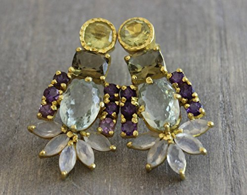 Multi Gemstone Gold Plated 925 Sterling Silver Statement Chandelier Post Earrings by Sophia Rose Jewellery