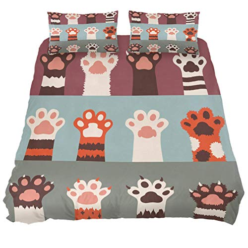 DJROW Cartoon Animal Cat Paws Coins Duvet Cover Set California King Size,3 Piece Bedding Set Cover Set with Pillow Shams