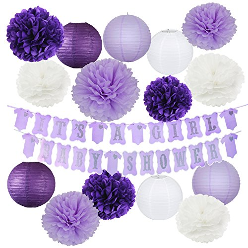 Elephant Purple Baby Shower Decorations It's A Girl Baby Shower Banner of Purple and Silver Color with Tissue Pom Poms Girl Baby Birthday Decor Purple Baby Shower Decor]()