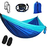 YFH SINGLE Parachute Camping Hammock,Lightweight Portable Hammock,(Hammock tree belt 10 feet / 18 + laps),Suitable for Open air Gardens,Beaches,Backpacks,Camping,Hiking,Jungle,(Blue/Sky Blue, 270X140)
