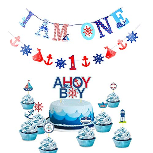 LaVenty Set of 11 JeVenis Nautical Cake Toppers One Banner First Birthday Banner Nautical Bunting Banner Nautical Party Decorations Ocean Cupcake Toppers for Baby Shower Birthday -