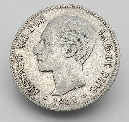 Desconocido Moneda de 5 Pesetas de Plata del Año 1881 Durante La ...