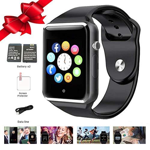 Smart Watch, Bluetooth Smart Wrist Watch Touchscreen Sport Smartwatch Fitness Tracker Anti Lost Camera Pedometer SIM TF Card Slot for Android Phones Men Women Kids