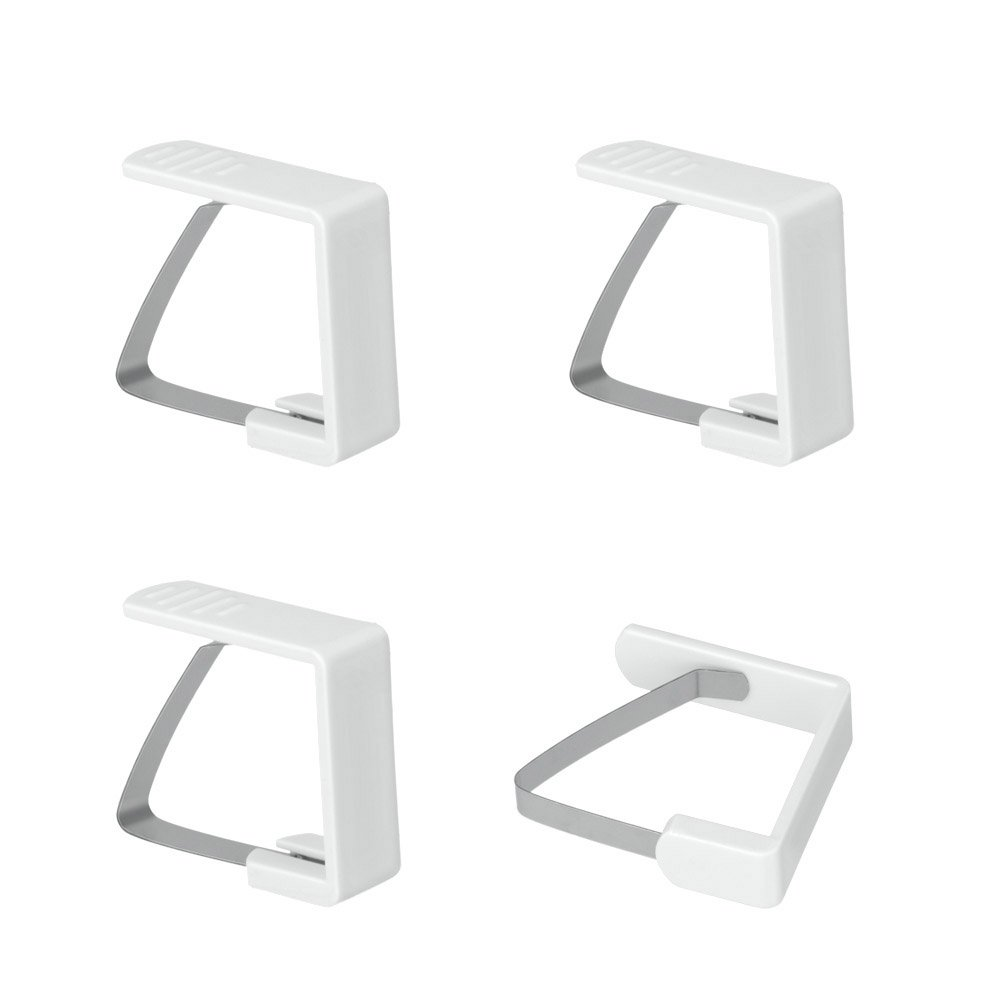 Metaltex Table Cloth Clips, White, 4-Piece 254505