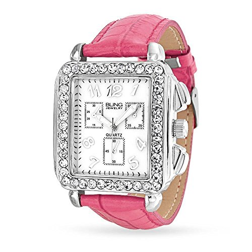 Deco Style White Crystal Square Dial Face Wrist Fashion Watch for Women Faux Pink Crocodile Leather Band Steel Back (White Geneva Watches For Men)