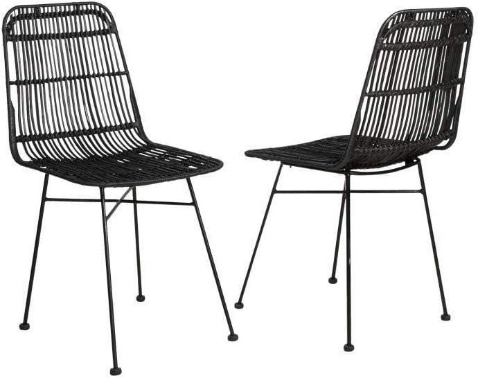 ELIA Lot de 2 chaises en rotin noir Pieds en métal