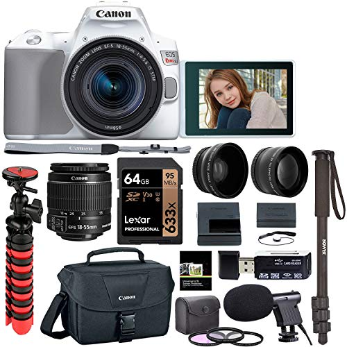 Canon SL3 18-55mm is STM DSLR Camera Kit, Tabletop Tripod, Lexar 64GB U3 Memory Card, Microphone, Filters, Lens Attachments and -