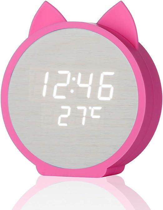 ZMDA - Reloj Despertador Infantil de Madera, diseño de Dibujos ...