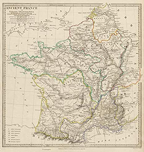 Map Of France Roads.Amazon Com Ancient Roman France Gaul Gallia Transalpina Roman