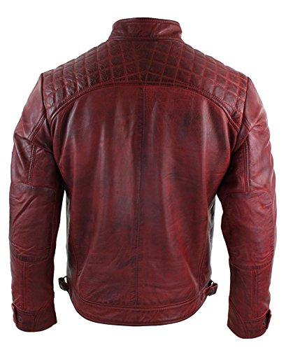 Biker Style Décontracté Rouge Souple Véritable Look Veste Homme Cuir Rétro qwIXXOa