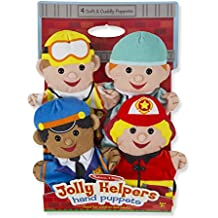 Melissa & Doug Jolly Helpers Hand Puppets (Set of 4) - Construction Worker, Doctor, Police Officer, and Firefighter