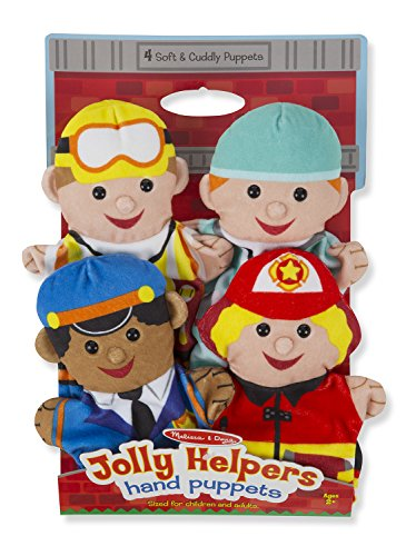 Melissa & Doug Jolly Helpers Hand Puppets, Puppet Sets, Construction Worker, Doctor, Police Officer, and Firefighter, Soft Plush Material, Set of 4, 14