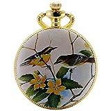 KS Half Hunter Mother Of Pearl Dial Magpie Bird Ceramic Pattern Date Quartz Pocket Watch KSP077