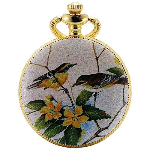 Date Quartz Pocket Watch - KS Half Hunter Mother Of Pearl Dial Magpie Bird Ceramic Pattern Date Quartz Pocket Watch KSP077
