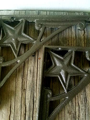 DARK METALLIC BRONZE STAR SHELF BRACKETS - SET OF 2 - CAST IRON - HEAVY DUTY - MATCHING SCREWS - Cast Brace Corner Star Iron