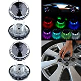 OCPTY 4 Pack Car Wheel Rim Light Waterproof Solar Energy LED Flashing Lights Car Tyre Decoration Accessories
