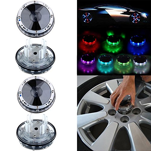 OCPTY 4 Pack Car Wheel Rim Light Waterproof Solar Energy LED Flashing Lights Car Tyre Decoration Accessories (Rim 4 Light)