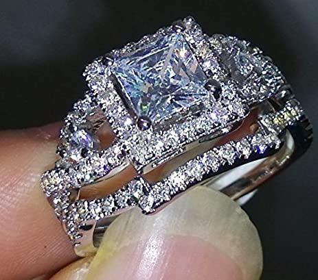 Weewoo Dazzling Topaz Simulated Diamond10KT Silver Cross Engagement Wedding Band Ring Set Sz 5 10