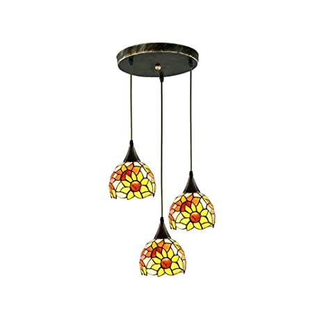 HHCC Tiffany Techo Luz Colgante Vidrieras, 3 lámparas Araña ...