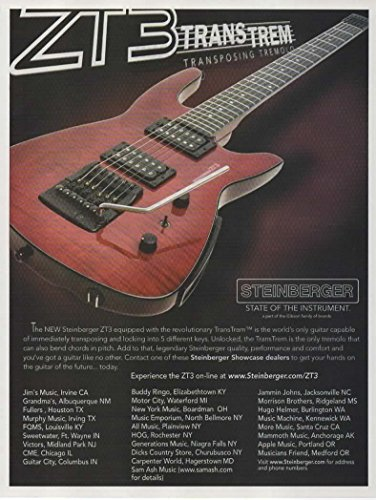 Magazine Print Ad: 2009 Steinberger ZT3 TransTrem Custom Electric Guitar, Transposing Tremolo'