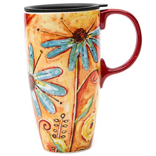 CEDAR HOME Coffee Ceramic Mug Porcelain Latte Tea Cup With Lid 17oz. Orange Flower