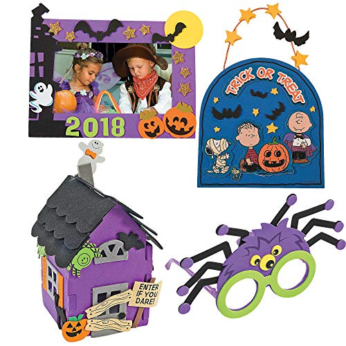 Halloween Craft Kit DIY | 3D Haunted House, Dated Picture Frame Magnet, Snoopy Trick or Treat Door Sign, & Children Spider Glasses | Kids Boys & Girls Family Holiday Activities -