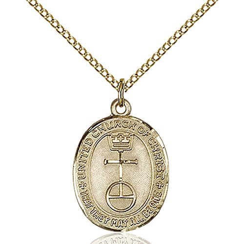 Gold Filled St. Christopher Pendant 7/8 x 1/2 inches with Gold Filled Lite Curb Chain by Bonyak Jewelry Saint Medal Collection
