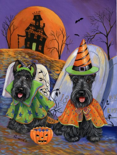 Scottish Terrier Haunted House-haunted house wall art