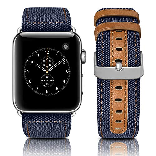 Jobese Compatible with Apple Watch Band 42mm/44mm 38mm/40mm, Classic Elegant Canvas Fabric Straps with Genuine Leather Replacement Wristband Compatible with Apple Watch Series 5 4 3 2 1, Men Women