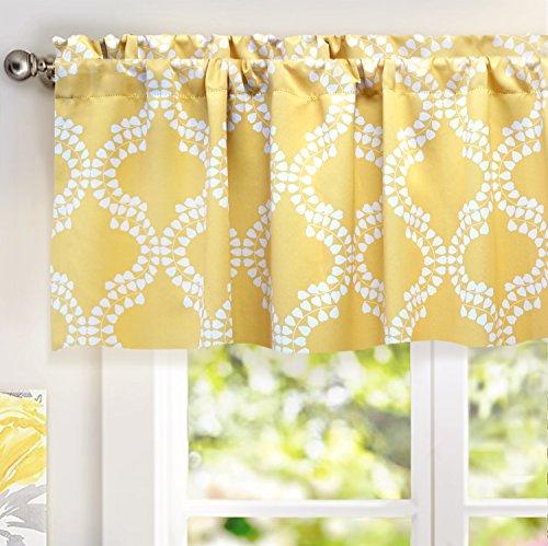 Home Decor Pattern Valances (DriftAway Julianna Valance Geometric/leaf Pattern Thermal/Blackout Window Curtain Valance, Rod Pocket, 52