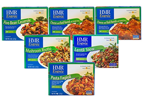 HMR Meatless Combo 6 Entree Bundle: 2 each Cheese and Basil Ravioli, 1 each Mushroom Risotto, Five Bean Casserole, Lentil Stew, Pasta Fagioli, 8 oz. servings, 6 Count