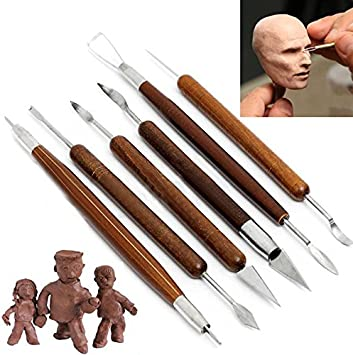 6Pcs Clay Sculpting Wax Carving Pottery DIY Tools Shapers Polymer Modeling Gift;