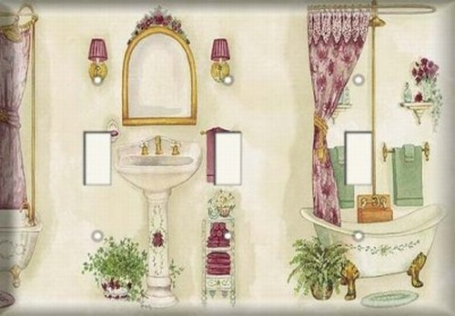 Three Switch Plate - Pedestal Sink Bathroom by SnazzySwitch