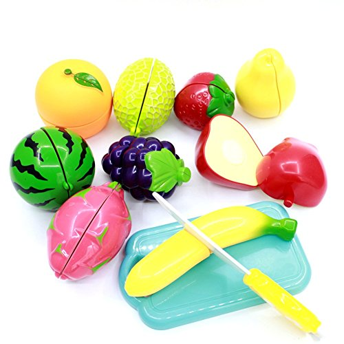 Kids Kitchen Toys Pretend Play Cutting Food Slice Playset With Knife And Cutting Board  Fruit  Small