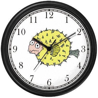 Blow or Puffer Pufferfish or Porcupine Fish Animal Wall Clock by WatchBuddy Timepieces (Black (Porcupine Fish Animal)