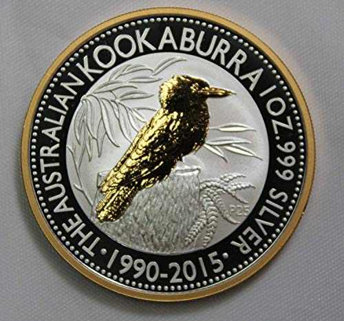 - 2015 AU 18K Gold Overlay Australian 1oz Silver Kookaburra $1 BU