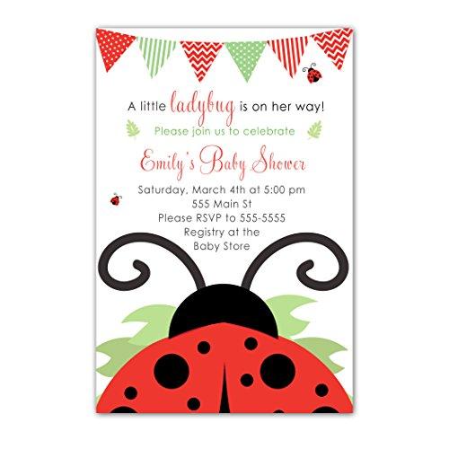 Baby Ladybug Invitation Shower (30 Invitations Baby Girl Shower Red Ladybug Personalized Cards Photo Paper)