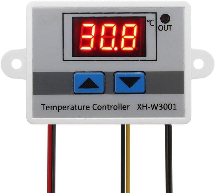 ARCELI Módulo Controlador de Temperatura LED Digital 220, Interruptor de termostato XH-W3001 con sonda a Prueba de Agua, termostato de enfriamiento de calefacción programable