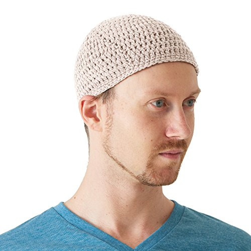 Crochet Free Hat (Casualbox | Kufi Skull Cap Cotton Prayer Hat Crochet Knit Soft Skin Care Ivory)