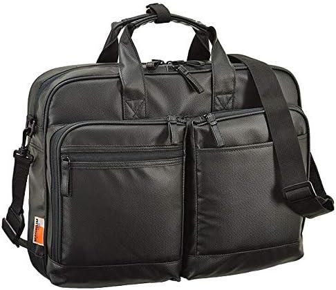 平野鞄 ビジネスバッグ ブリーフケース メンズ 2way 大容量 軽量 撥水 自立 ブランド B4 キャリーオン ショルダーベルト 出張 通勤 黒 ブラック 横幅42cm +オリジナル高級ムートングローブ